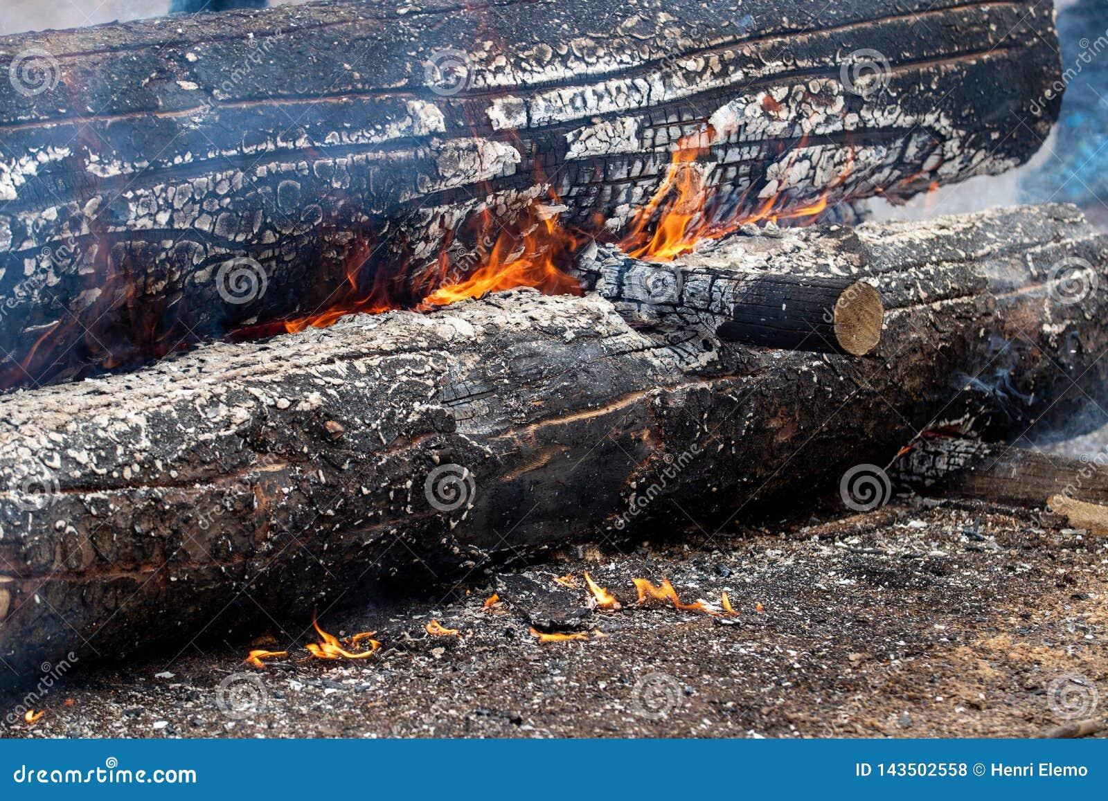 Helsinki, Finlande - 1er avril 2018 : Rondin brûlant à la ferme de Haltiala le jour de famille pour griller des saucisses