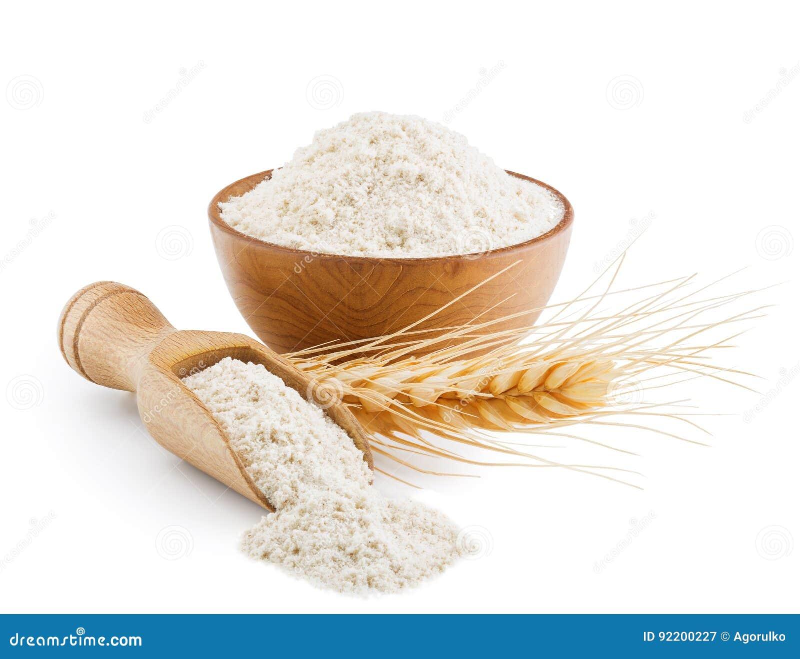 Helt kornvetemjöl som isoleras på vit
