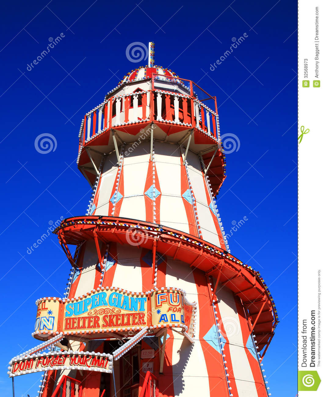 Victorian helter skelter fairground amusement park ride.