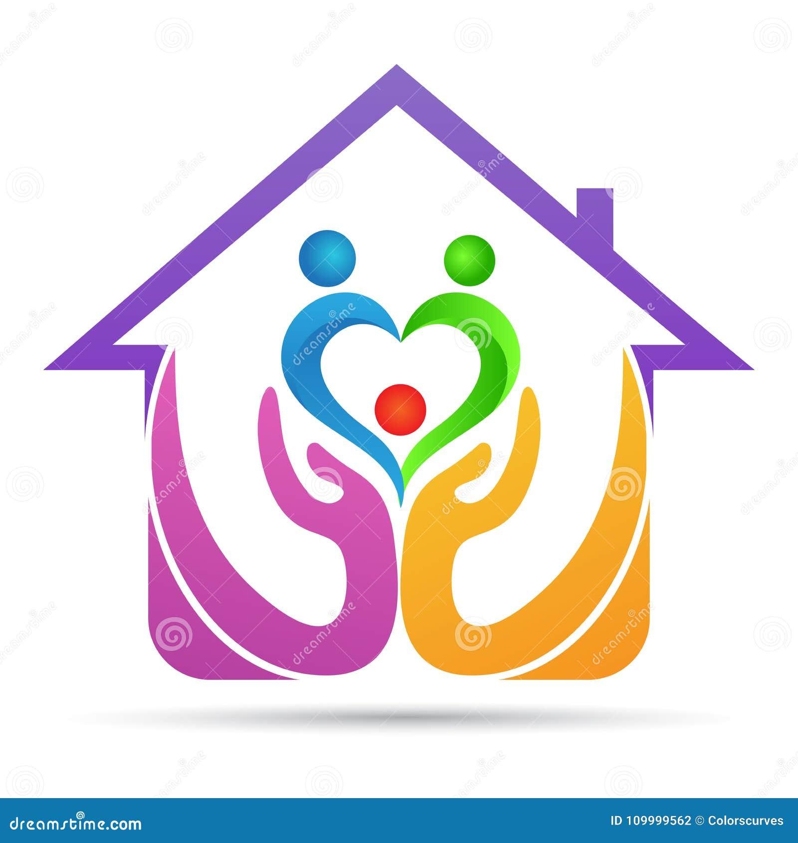 Hem- design för logo för förälskelse för familj för par för fläder för förtroendeomsorgfolk
