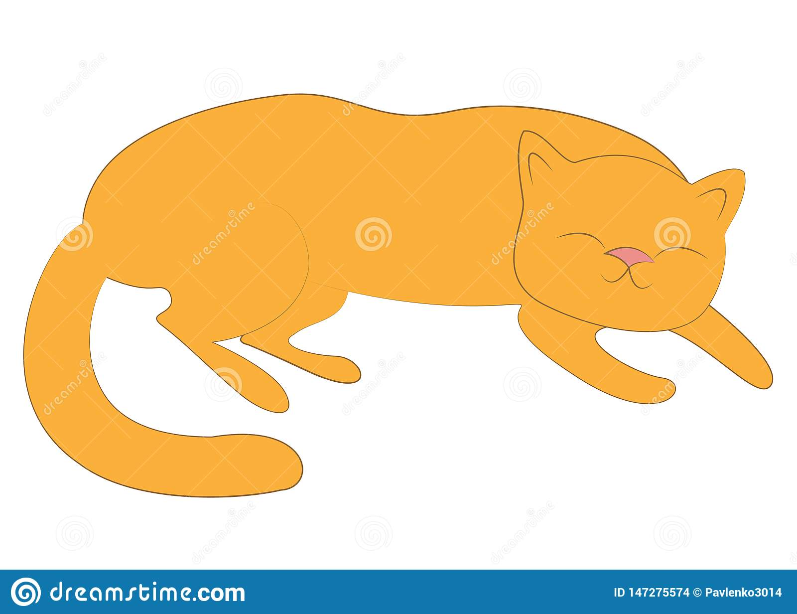 Hem- husdjur Den röda gulliga katten sover Han är lycklig och älskad ocks? vektor f?r coreldrawillustration
