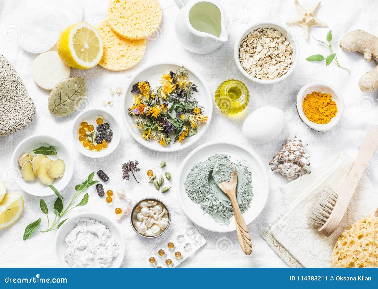 Hem- skönhetsprodukter - lera, havremjölet, kokosnötolja, gurkmeja, citron, skurar, torra blommor och örter, svampar, tvål, ansik
