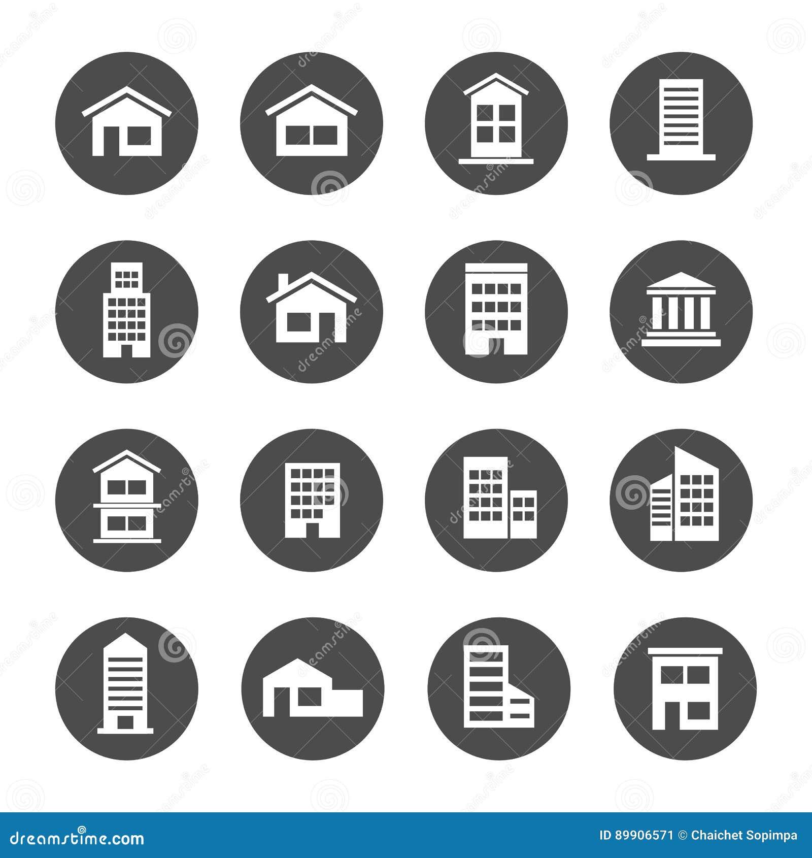 Hem- symbol för radhus för lägenhet för bank för uppehåll för husbyggnad