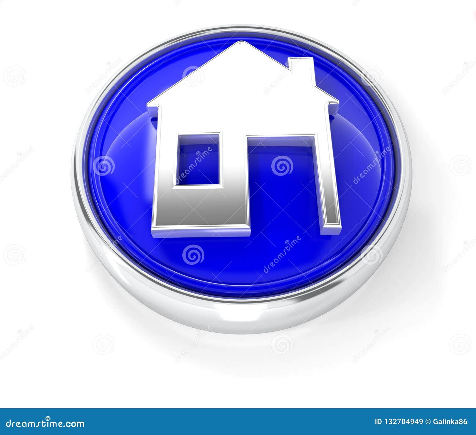 Hem- symbol på den glansiga blåa runda knappen