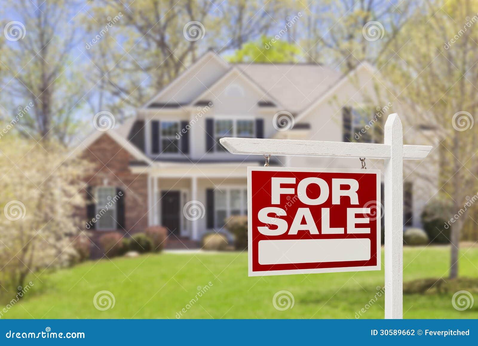Hem- till salu Real Estate undertecknar och inhyser