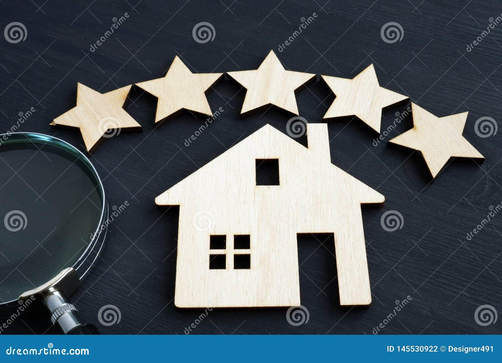 Hem- värdebegrepp Modell för stjärna fem och hus