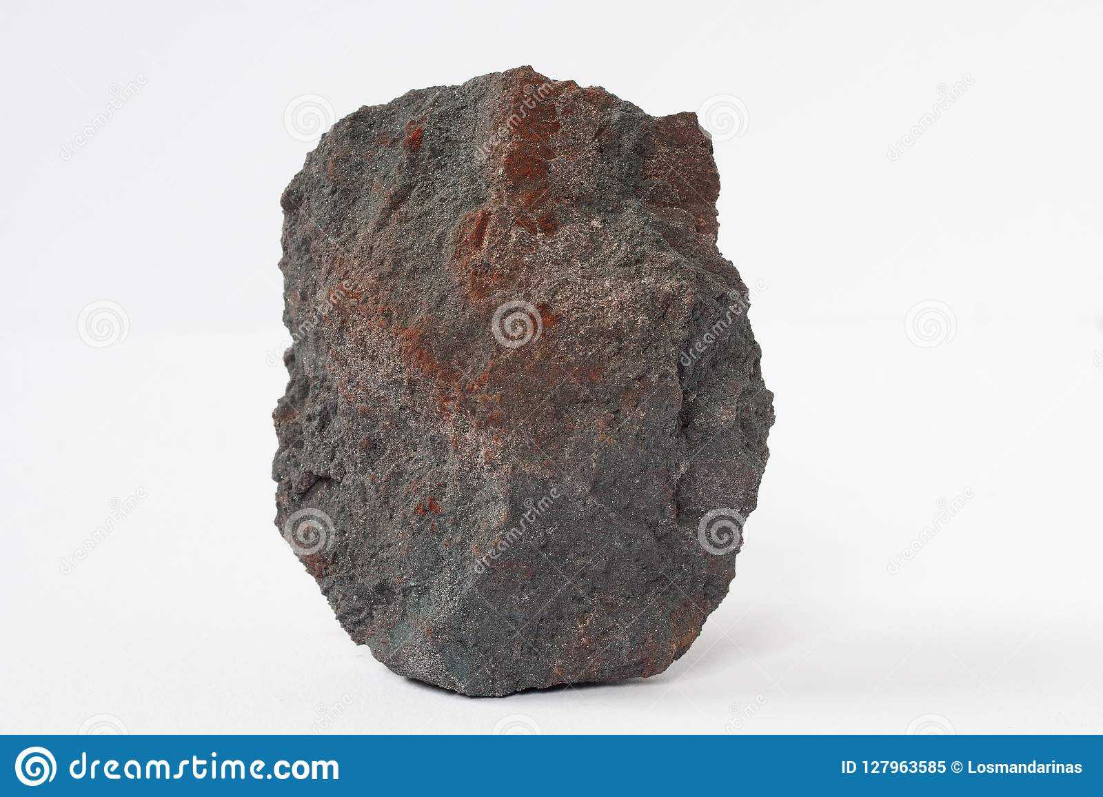 Hematite or haematite mineral also iron ore on white background