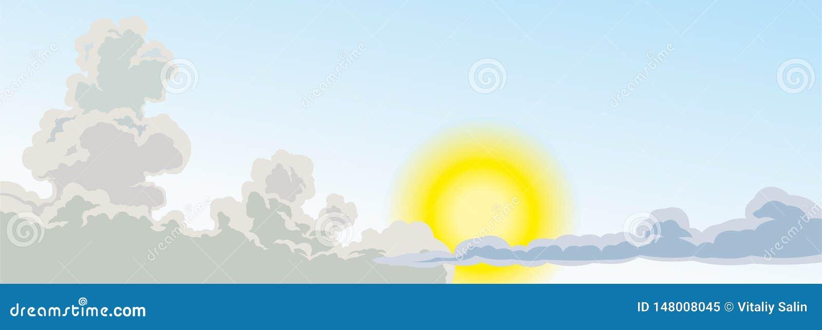 Hemel met wolken en heldere zon zon en wolken, ontwerp voor uw projecten