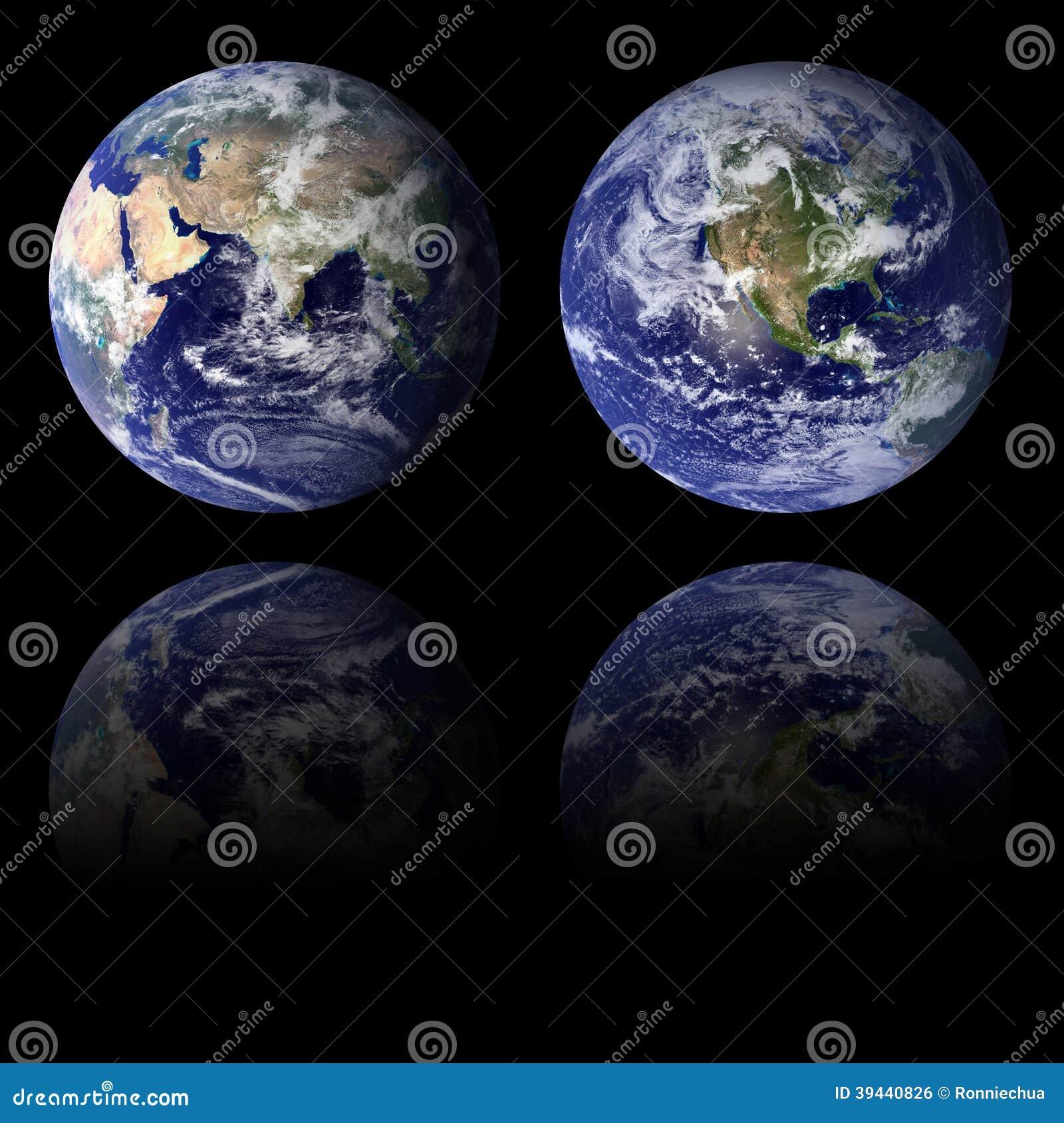 Hemisferios del este y occidentales de la tierra azul