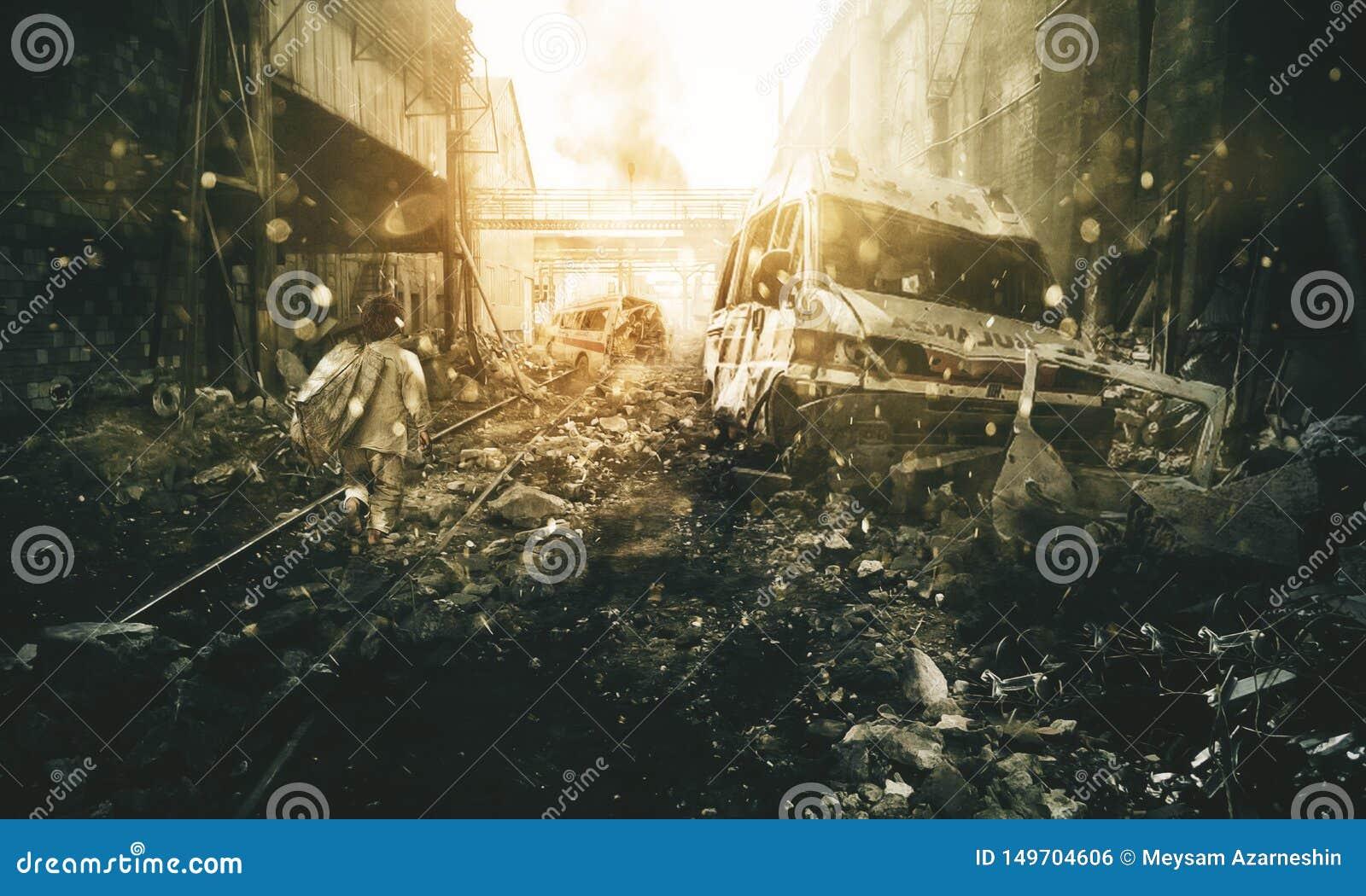 Hemlös pys som går i förstörd stad
