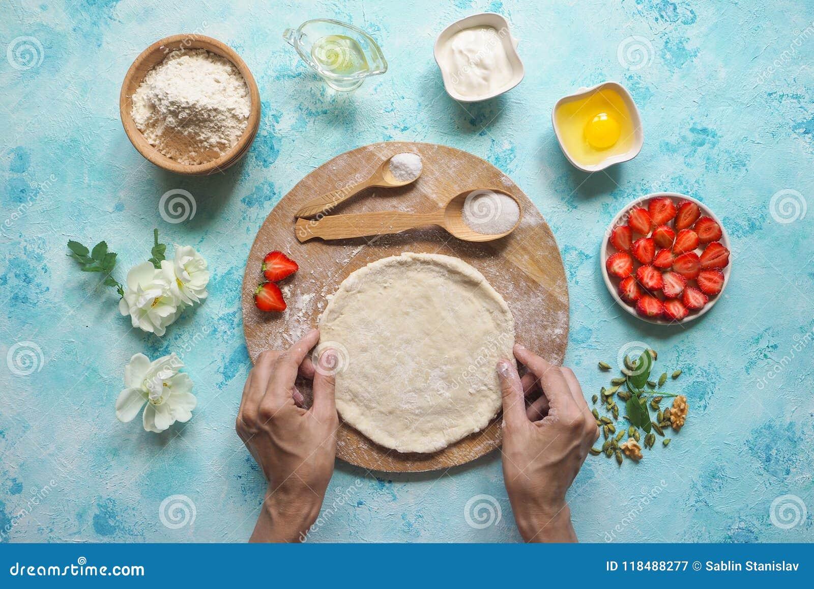 Hemlagad cake Runda degen för pajen övre sikt