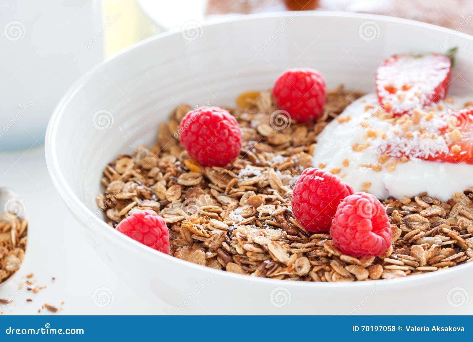 Hemlagad den havremålgranola eller myslit med ny sommar bär frukt det —hallonet och jordgubben med yoghurt