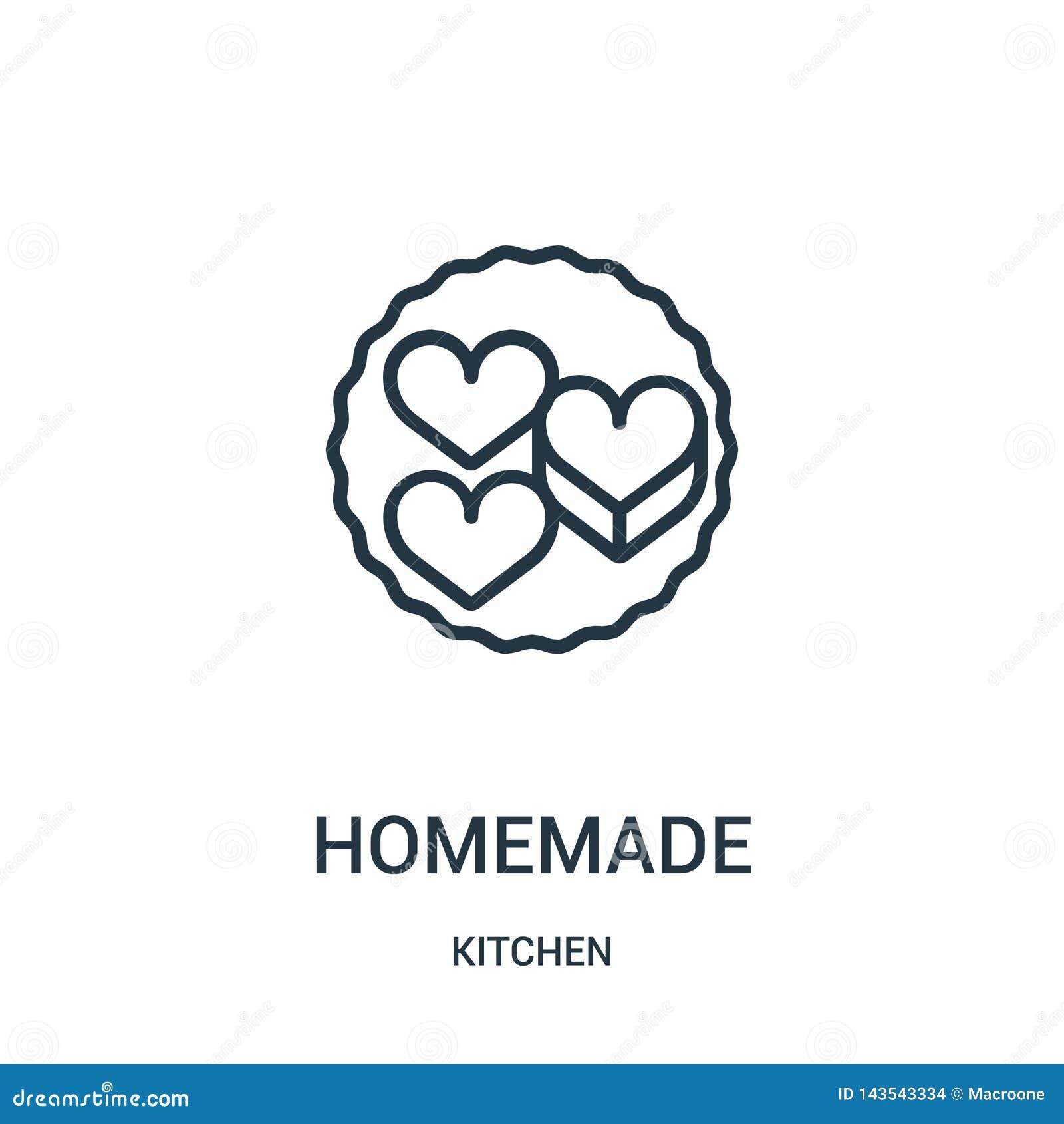 Hemlagad symbolsvektor från köksamling Tunn linje hemlagad illustration för översiktssymbolsvektor
