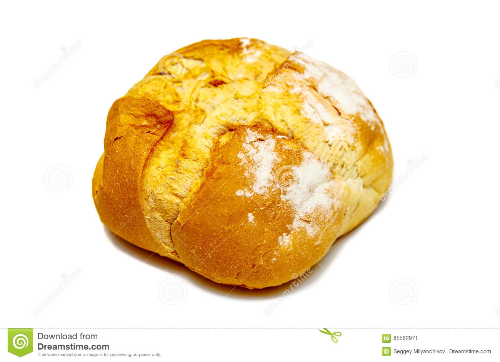 Hemlagat runt bröd från vetemjöl som isoleras