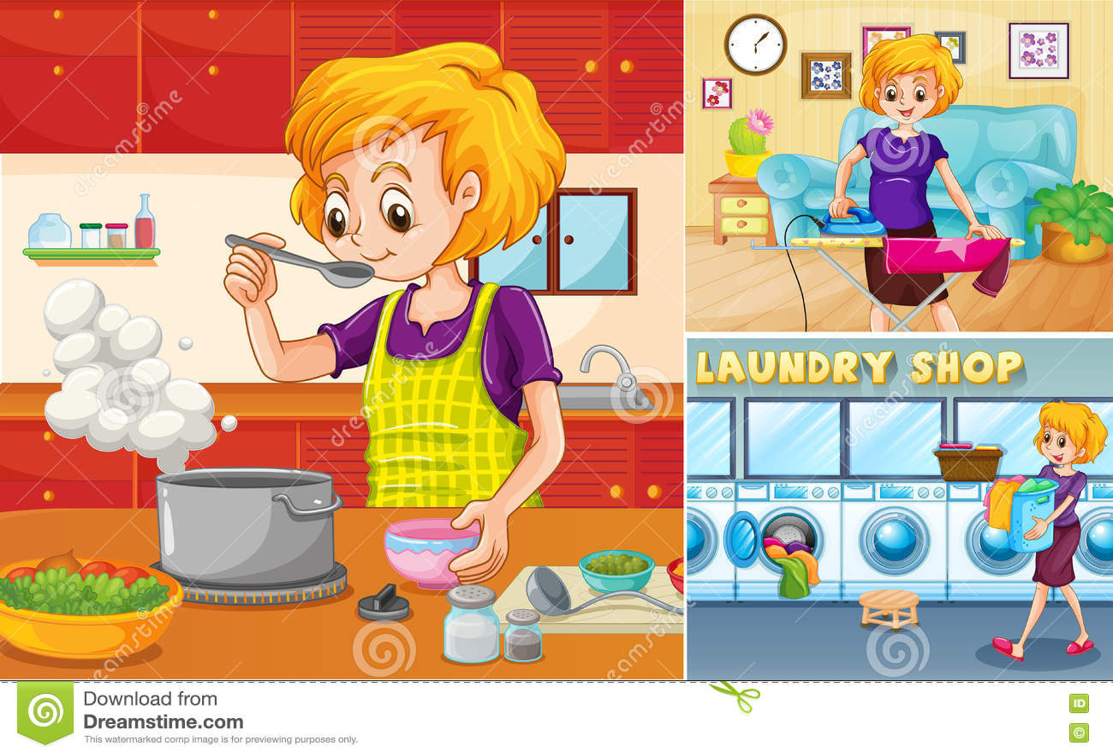 Hemmafru som gör olika sysslor i huset