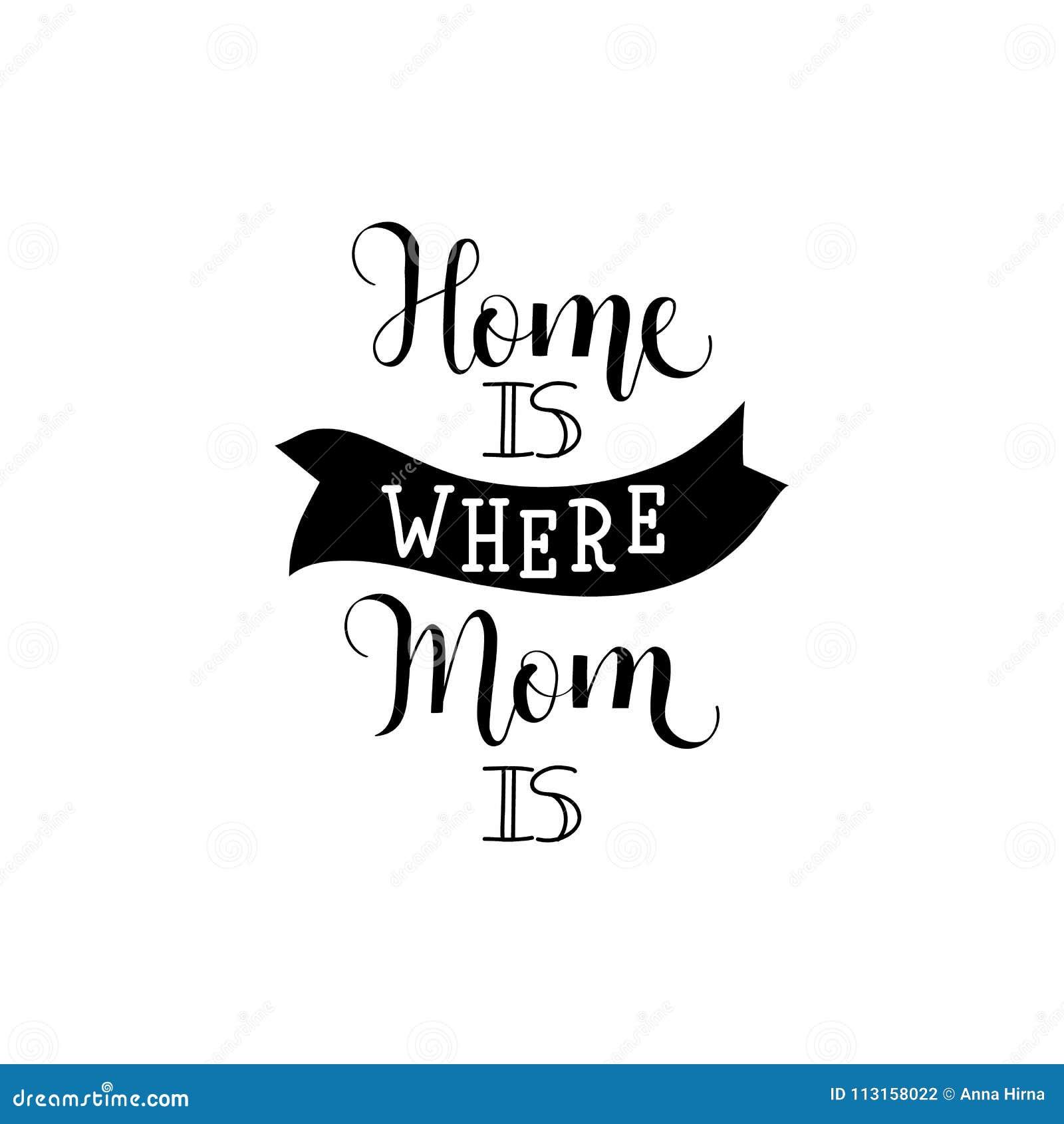 Hemmet är var din mamma är bokstäver dagmamma s Modern handbokstäver och kalligrafi För hälsningkort affisch