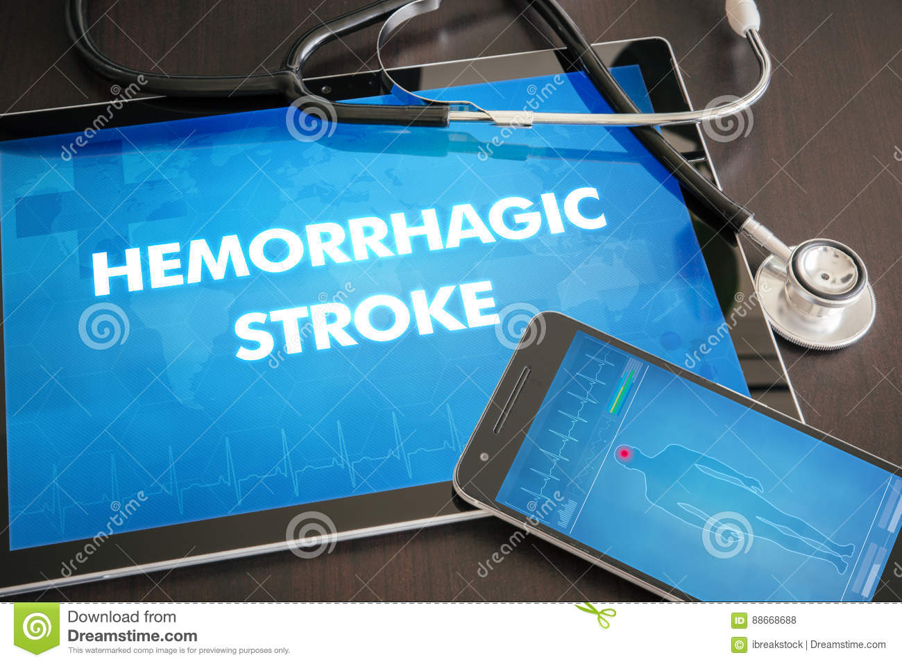 Hemorrhagic stroke (heart disorder) diagnosis medical concept on