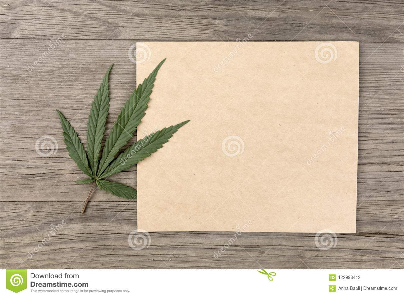 Hemp leaves and flowers with craft blank paper on old grunge wooden background. Top view. Minimalistic mockup.