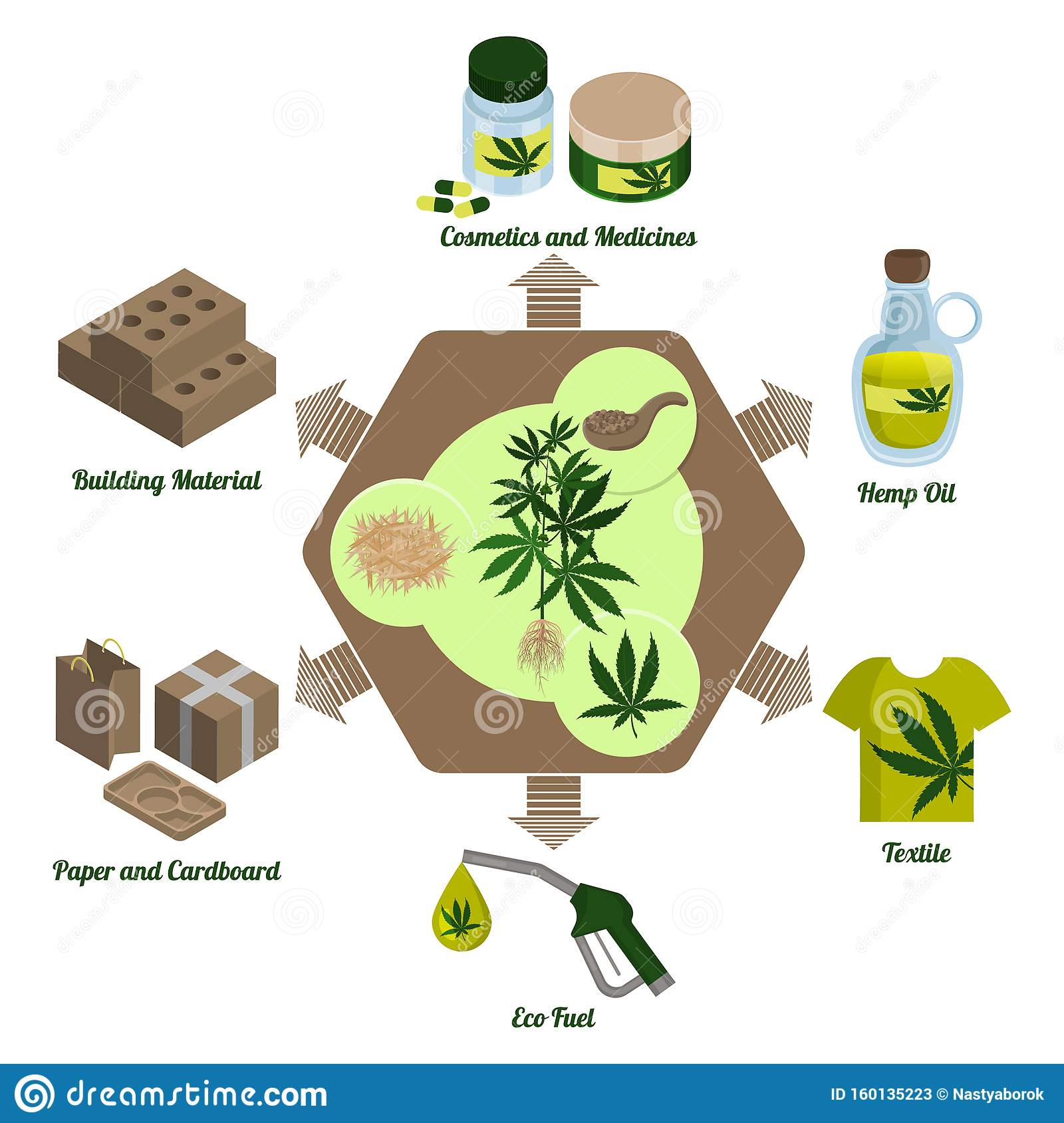 Hemp Plant Cannabis Leaf And Hemp Processing Products Processing Infographics Stock Vector Illustration Of Nutrition Material 160135223