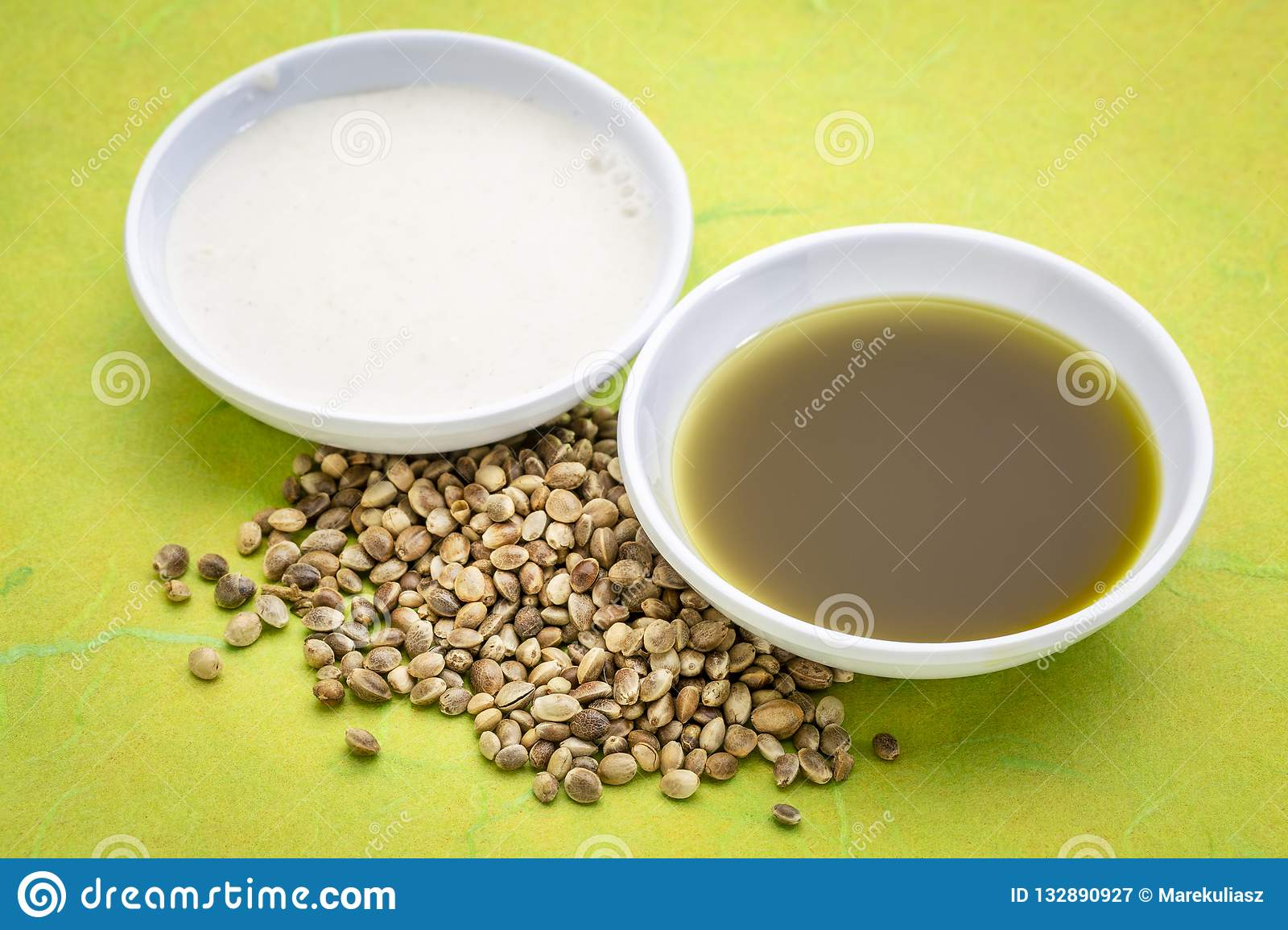 Hemp seeds, oil and milk stock image  Image of bowl - 132890927