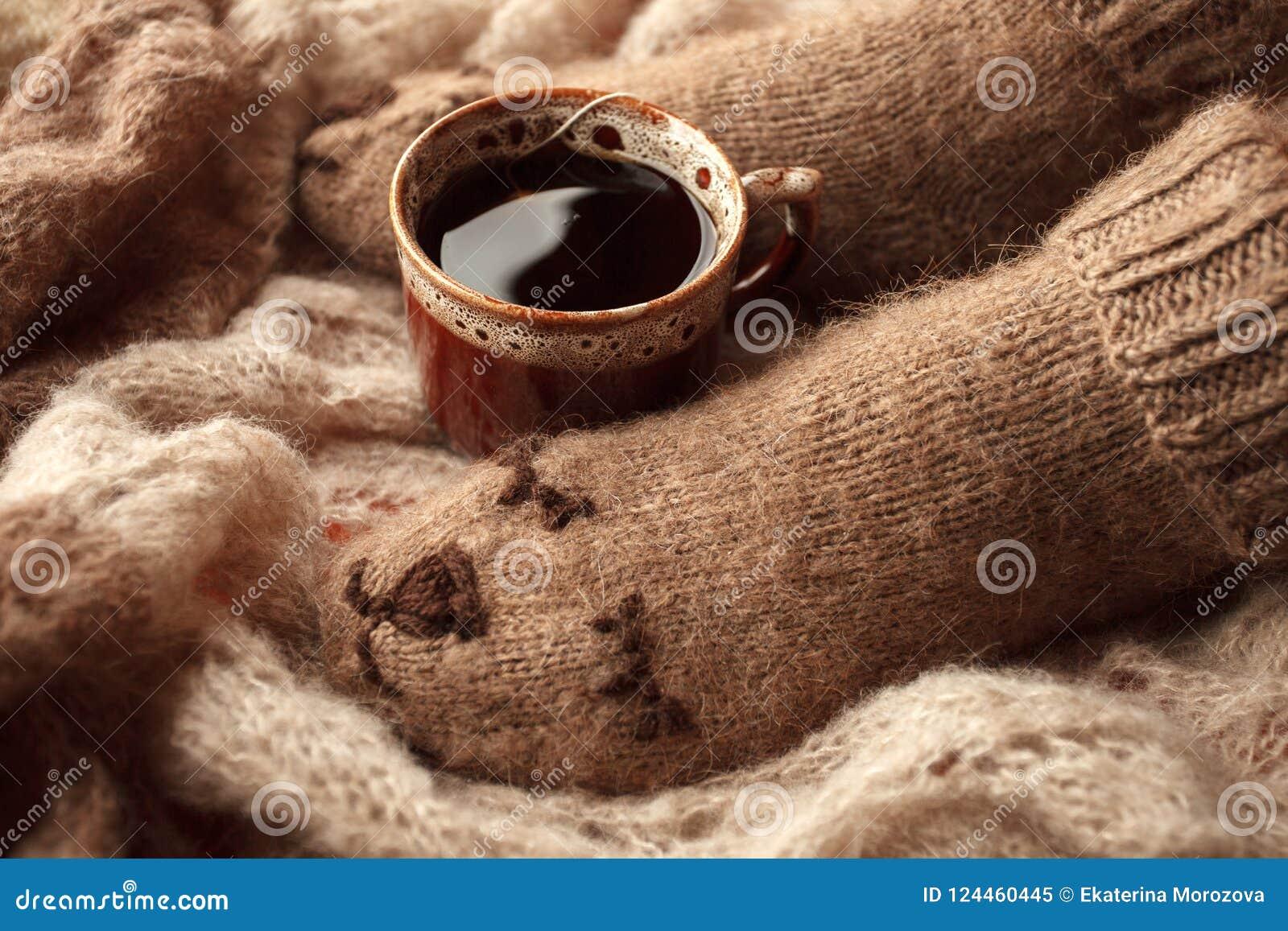 Hemtrevlig livsstil för vinternedgånghöst: kvinnafotben i varm gullig björnsockor och kopp te Retro toning, beige monokrom