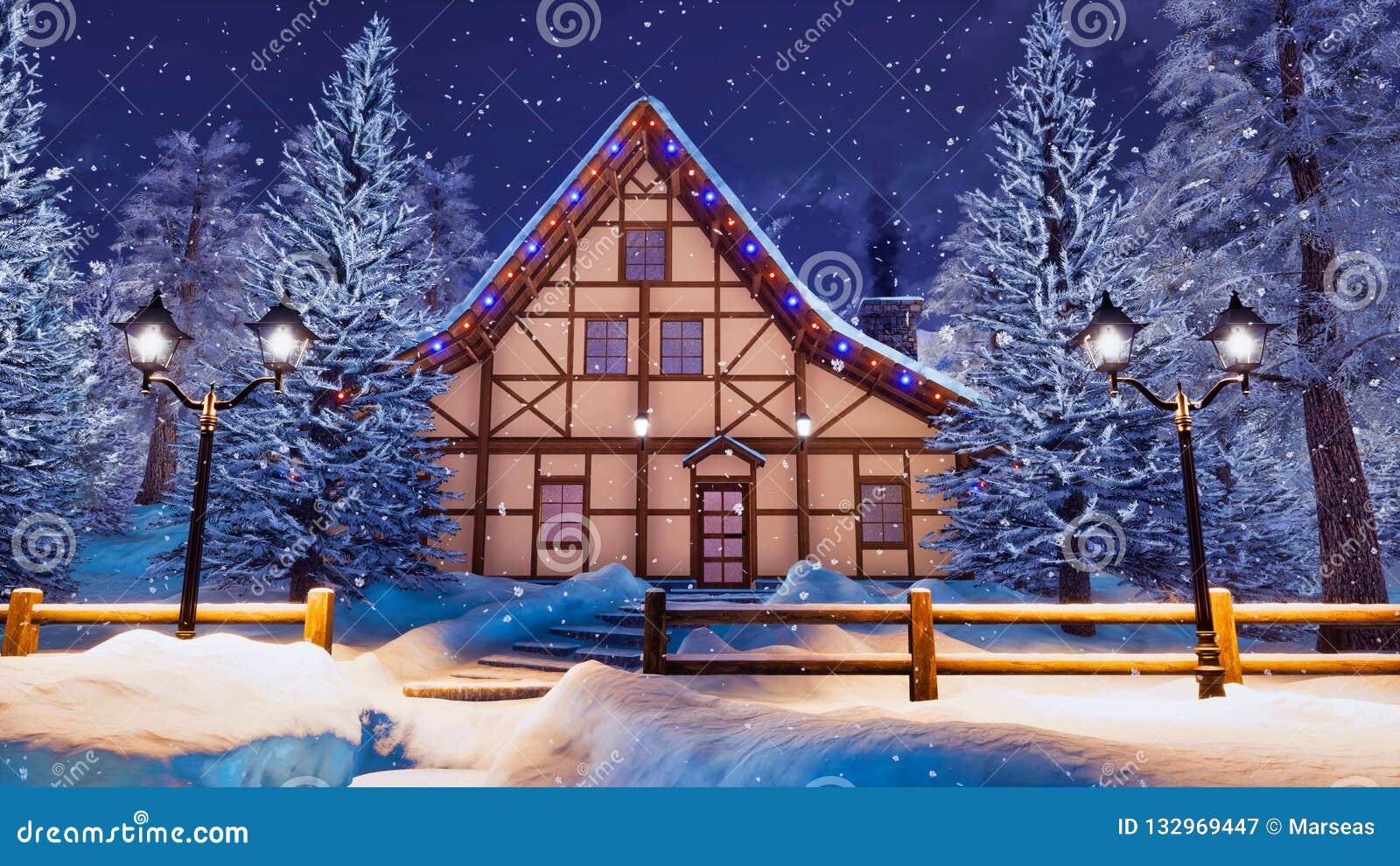 Hemtrevligt korsvirkes- hus på snöfallvinternatten