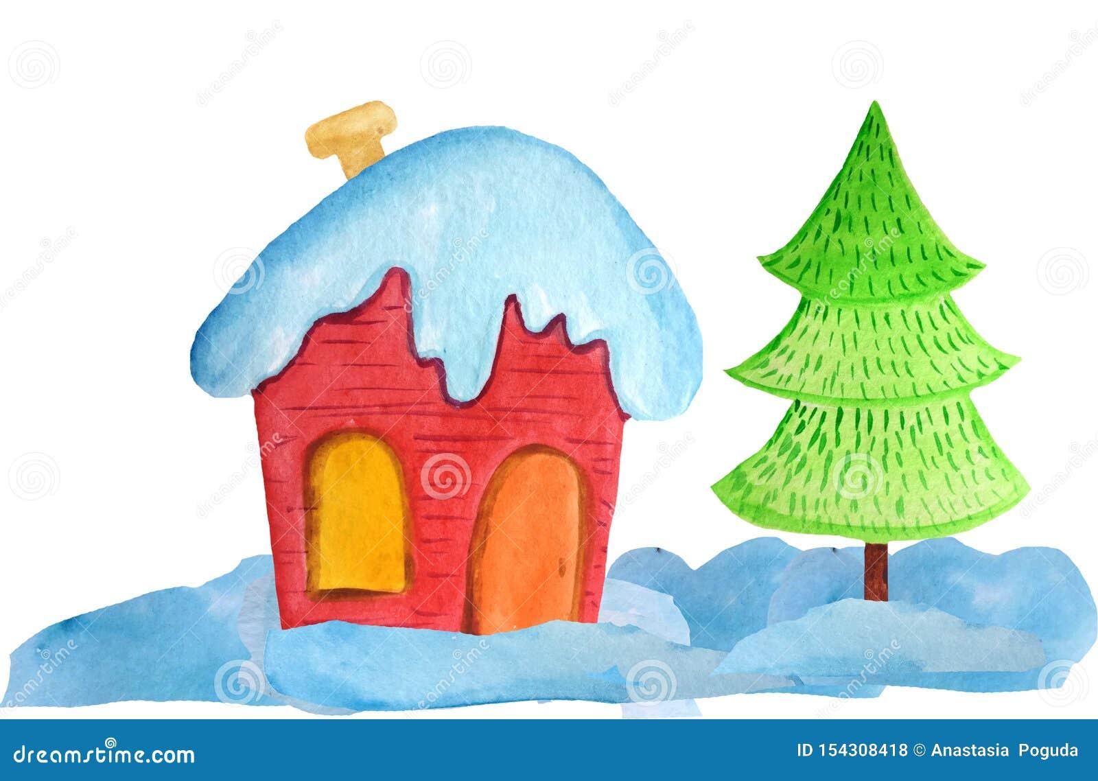 Hemtrevligt rött julhus i snödrivorna och ett träd på en vit bakgrund vattenfärgillustration för affischer, baner nytt