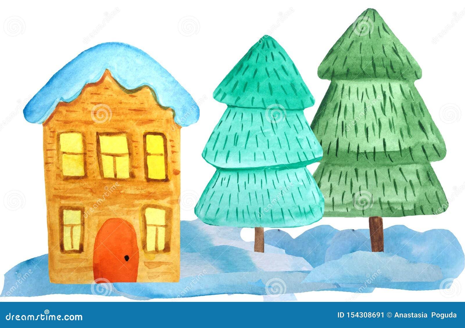 Hemtrevligt två-berättelse julhus i snödrivorna och ett träd på en vit bakgrund vattenfärgillustration för affischer, baner