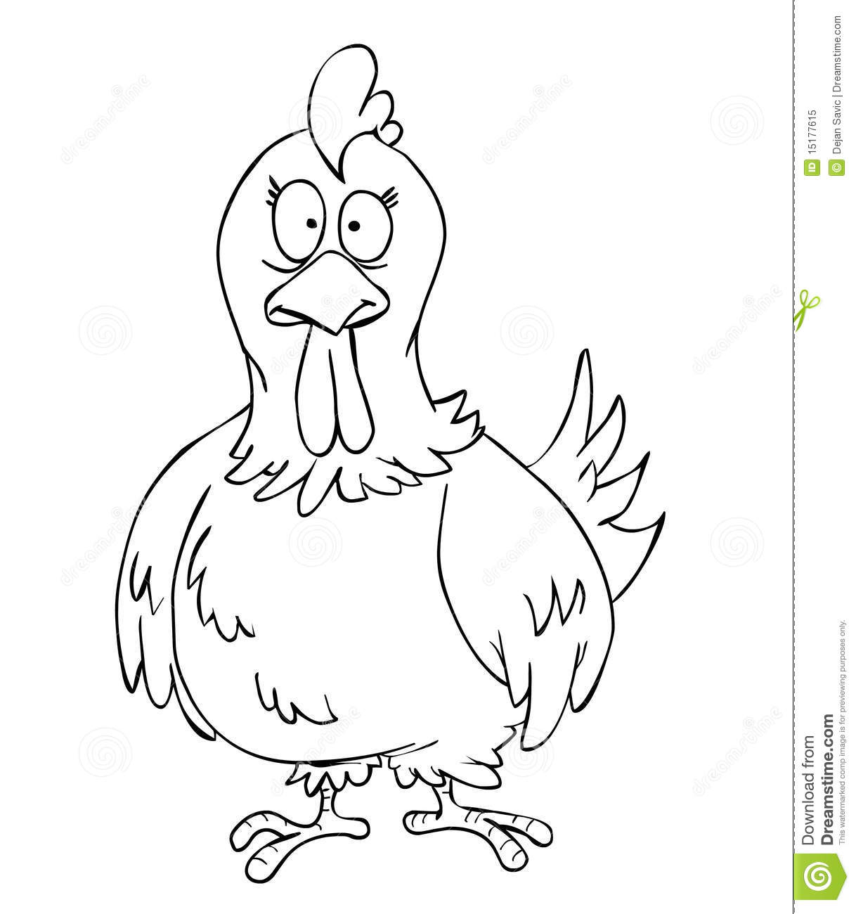 Chicken cartoon black and white