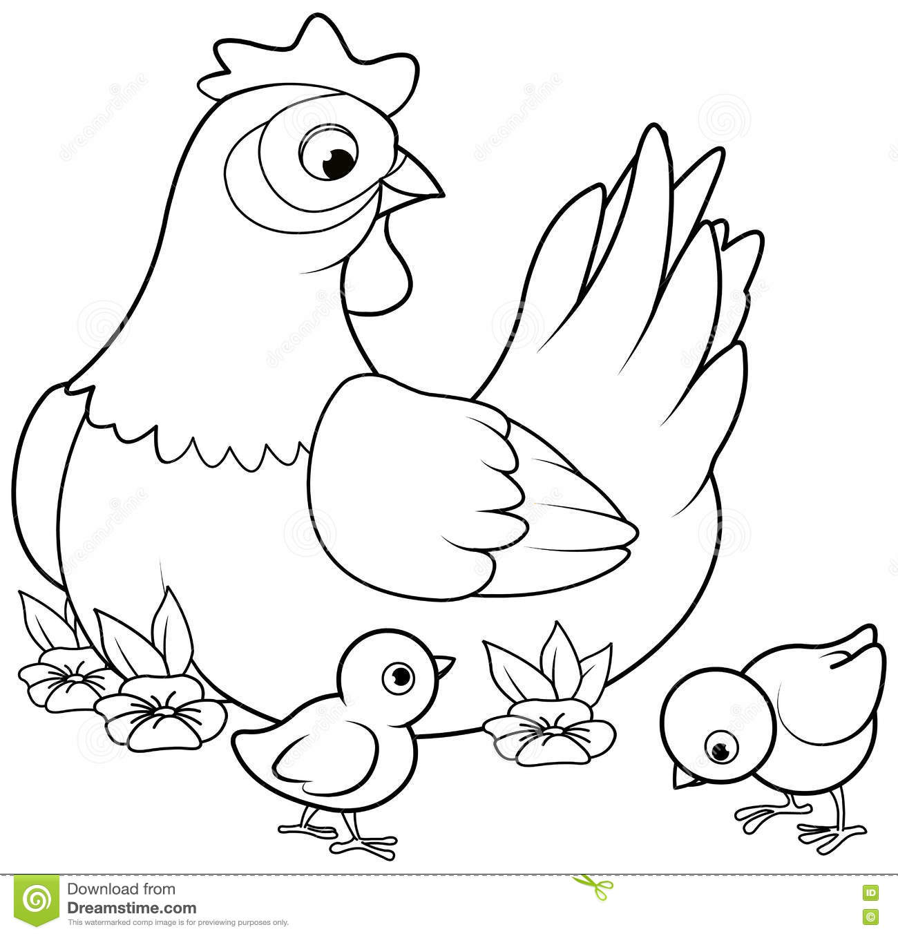 Hen And Chicks Stock Vector Illustration Of Coloring