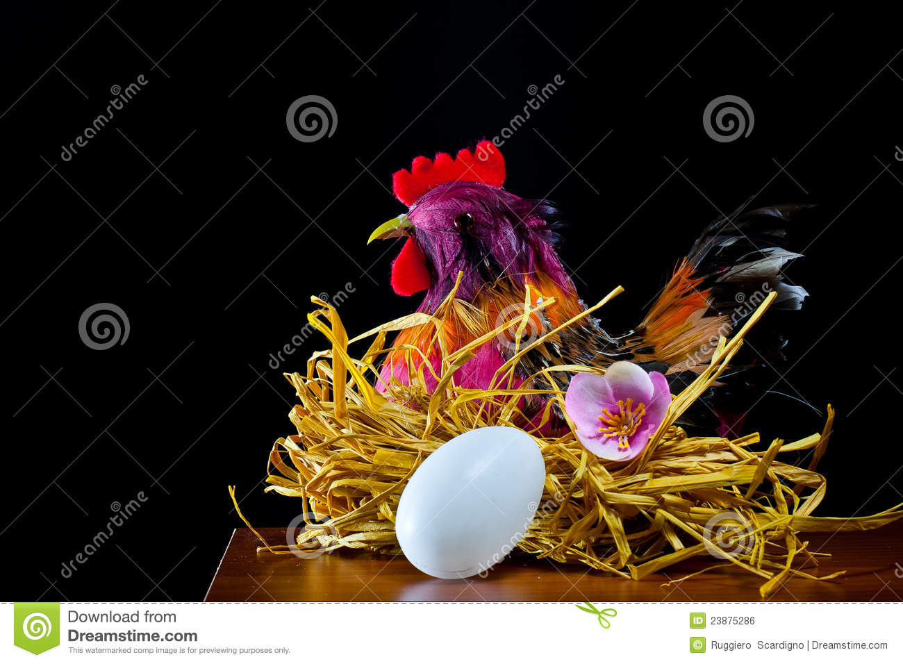 Hen and easter eggs