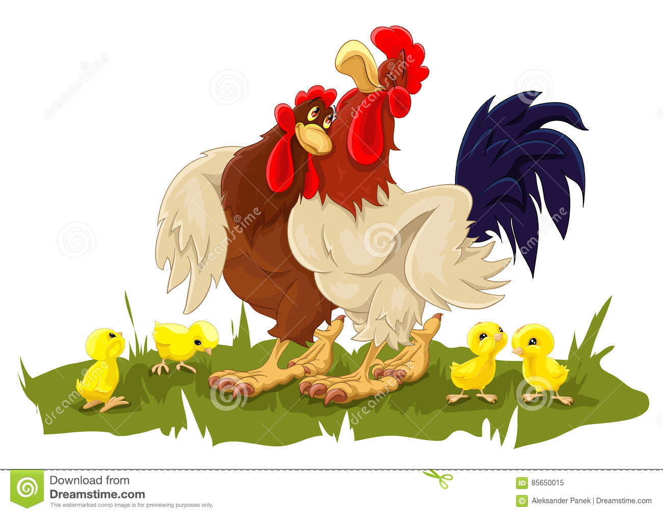 Rooster, Hen And Chickens Cartoon Vector Illustration