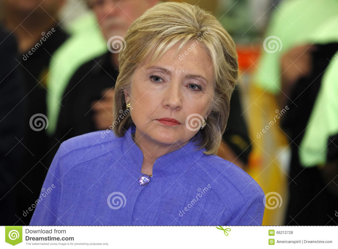 HENDERSON, NV - OCTOBER 14, 2015: Democratic U.S. presidential candidate & former Secretary of State Hillary Clinton listens at In