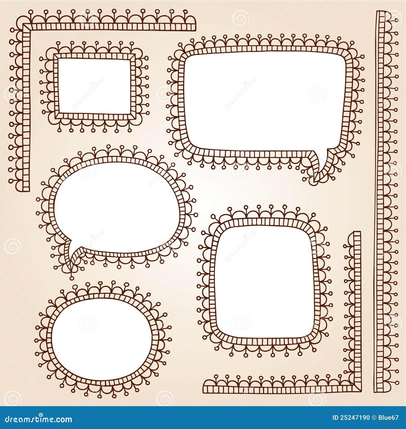 Henna διάνυσμα δερματοστιξιών Doodles Mehndi πλαισίων