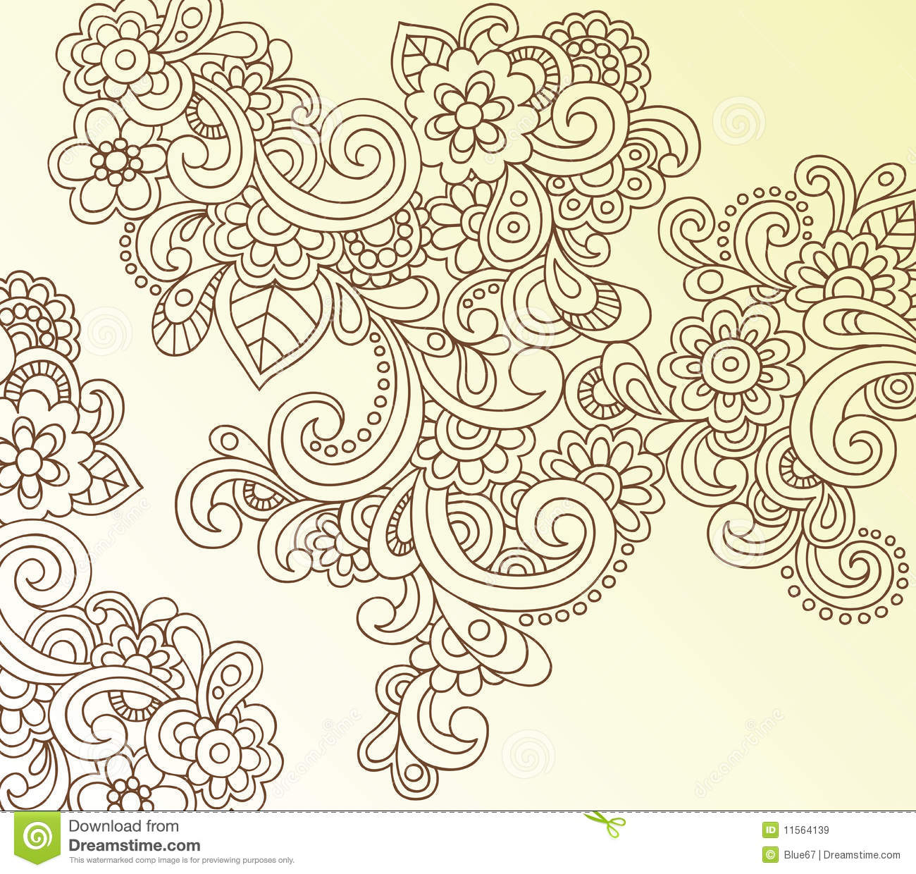 henna abstract paisley flower doodle vector royalty free stock images image 11564139. Black Bedroom Furniture Sets. Home Design Ideas