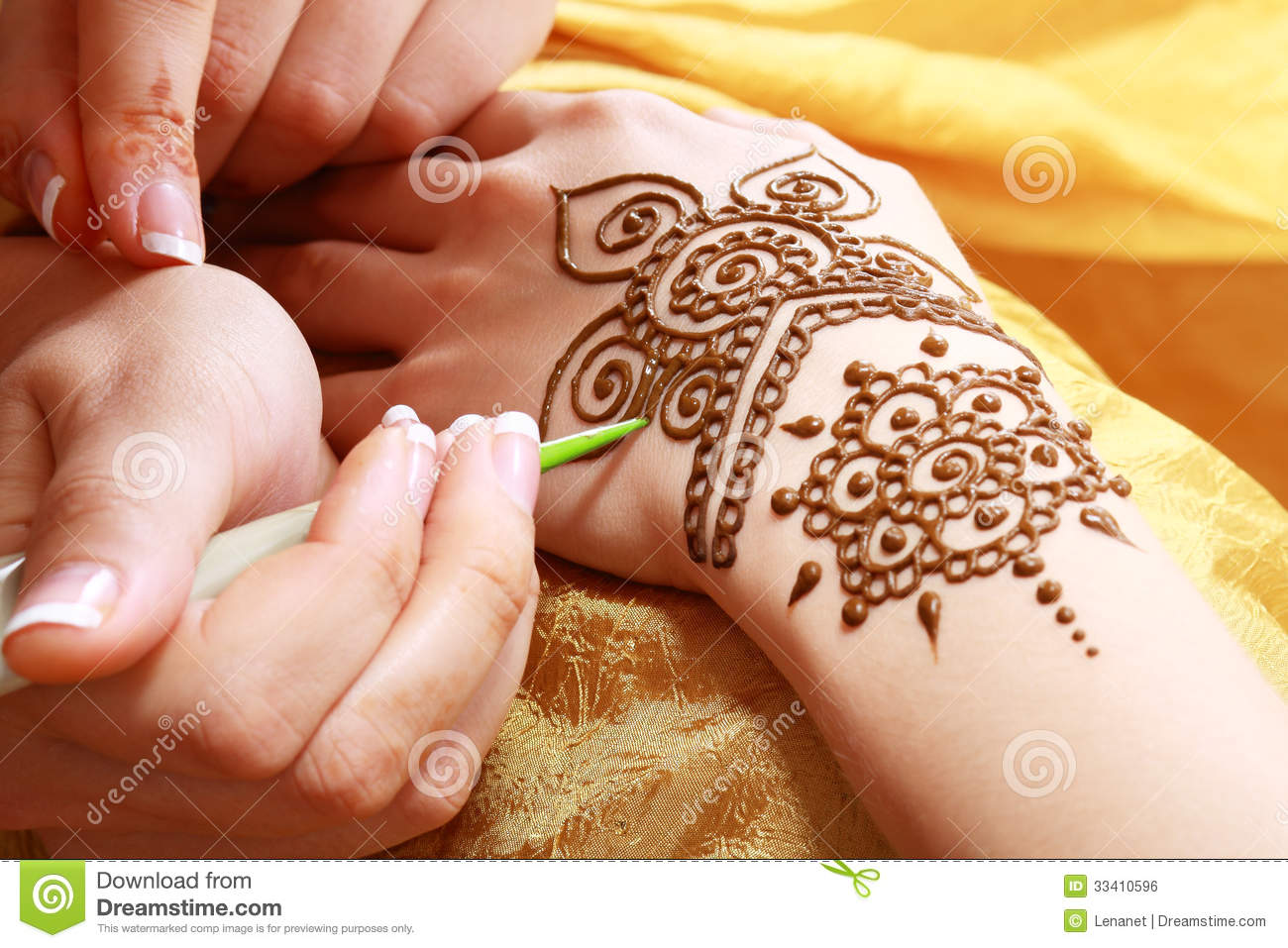 Henna Applying Stock Photo Image Of Brown India Gold 33410596