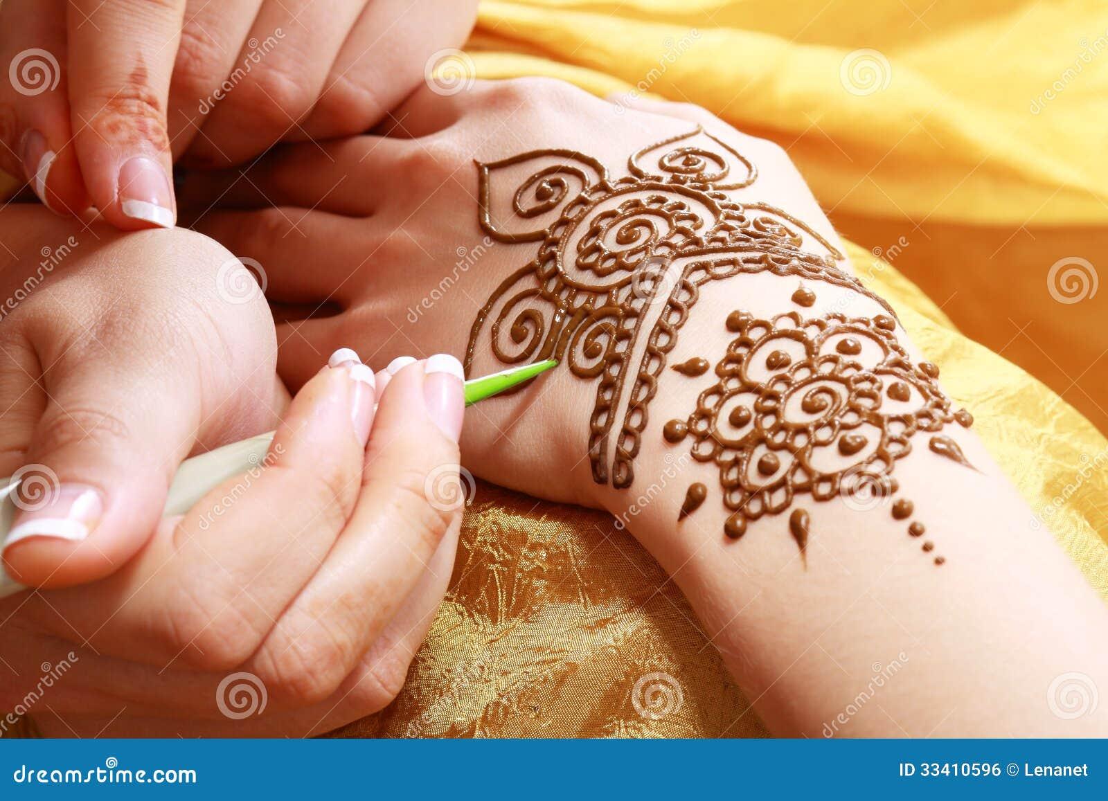 Apply Mehndi Hands : Henna applying royalty free stock image