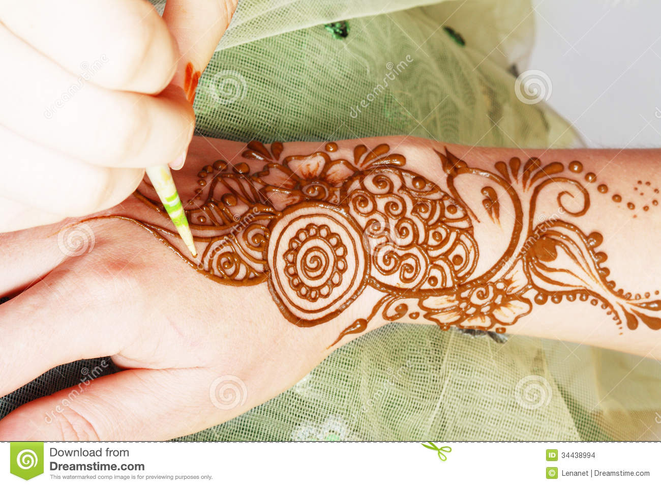 Henna Being Applied Stock Photo Image Of Bodyart Hand 34438994