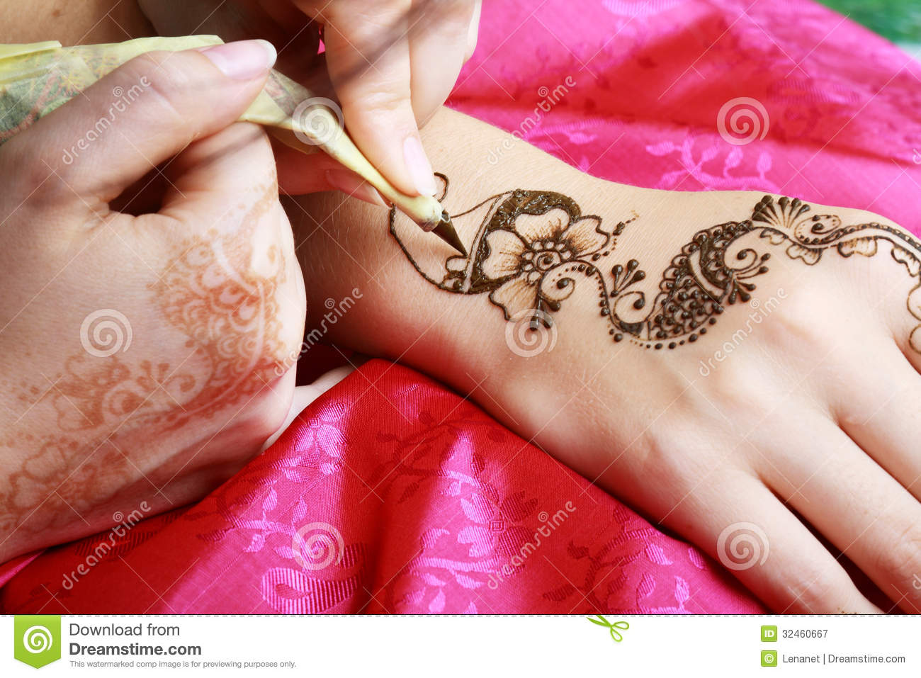Henna Being Applied To Hand Stock Image Image Of Henna Decoration