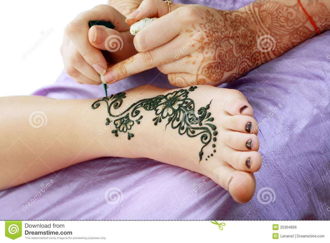 Henna Being Applied To Leg Stock Photo Image Of Beauty 25304856