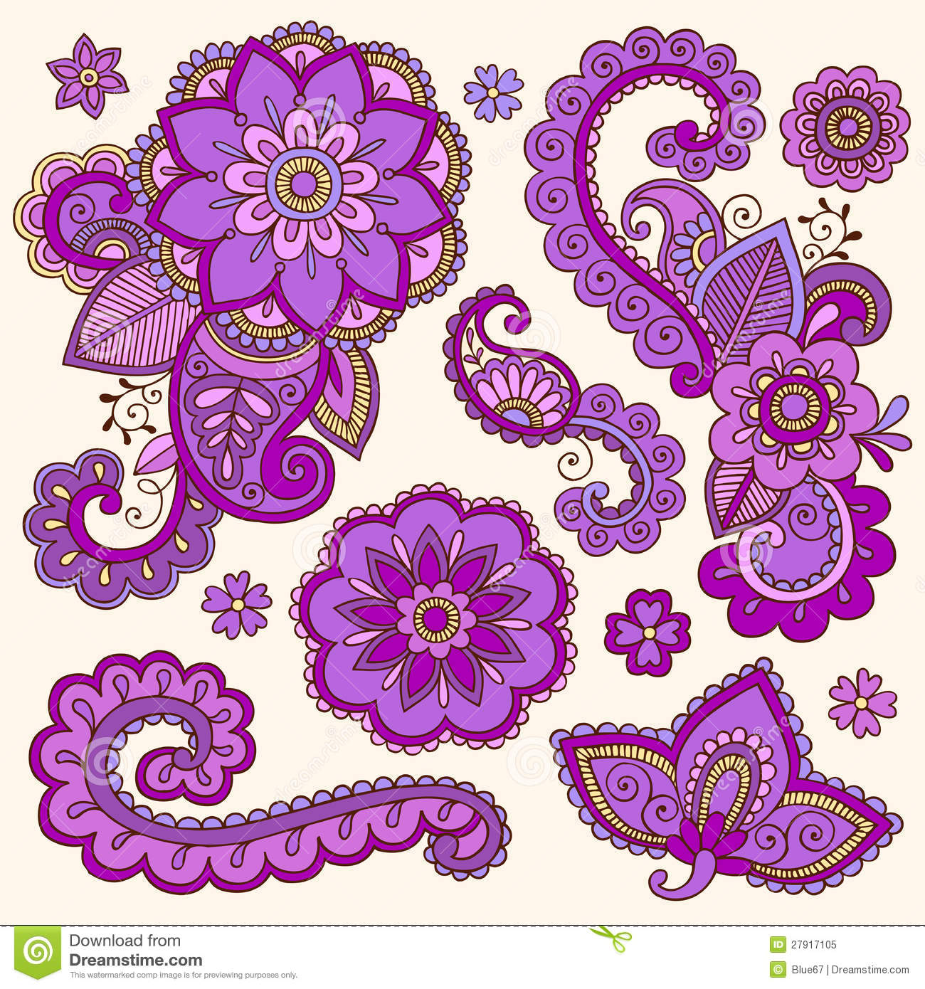 henna colorful mehndi tattoo doodles vector royalty free