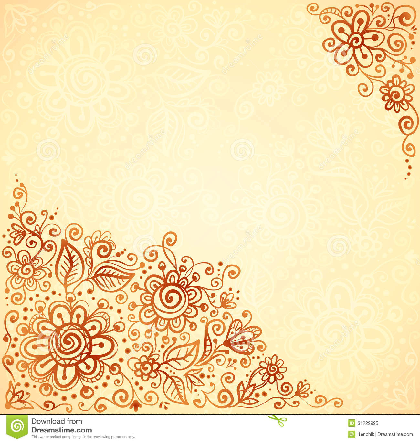 Henna Colors Flourish Artistic Background Stock Vector