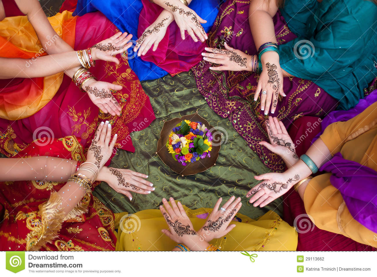 Group Mehndi Hands : Henna decorated hands arranged in a circle stock photo image of
