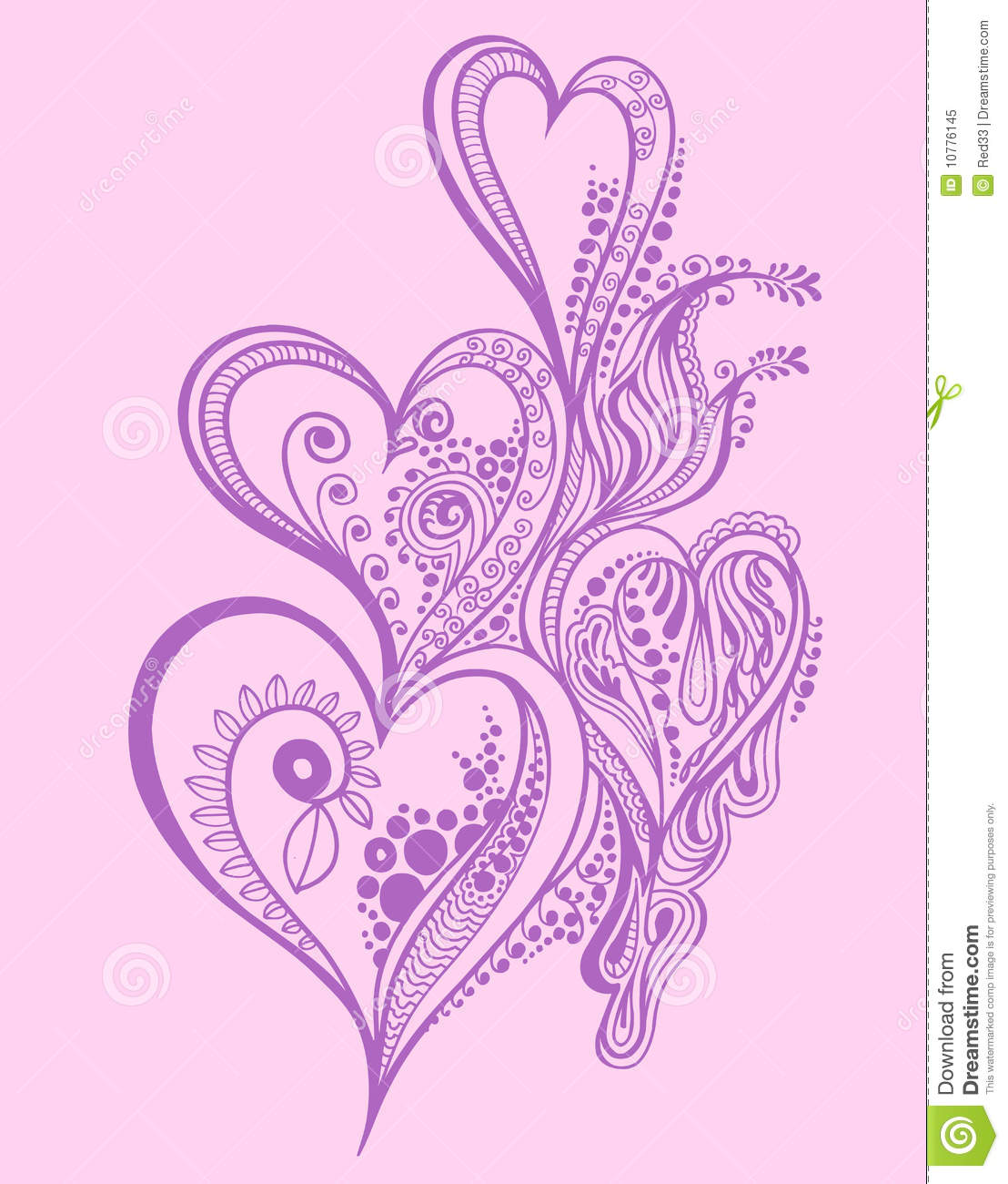 Heart Henna Tattoos: Henna Doodle Heart Design Stock Vector. Illustration Of