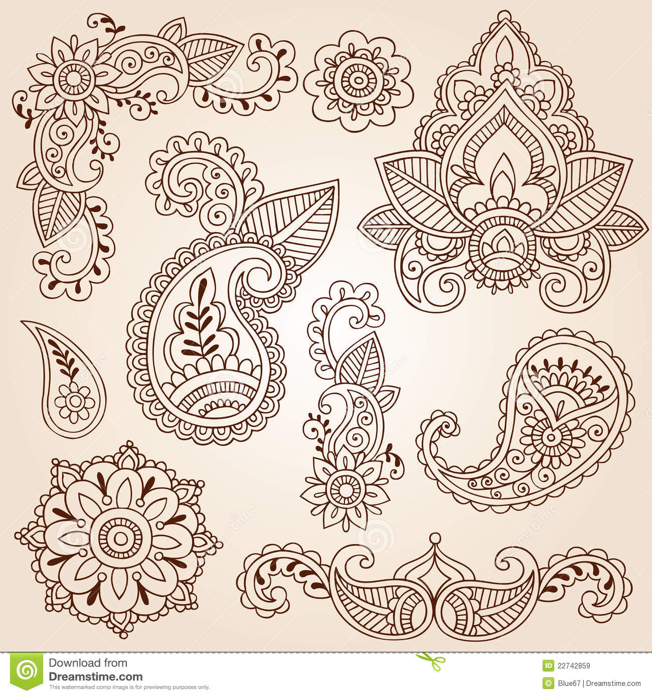 Henna Doodles Mehndi Tattoo Design Elements Set Stock Vector