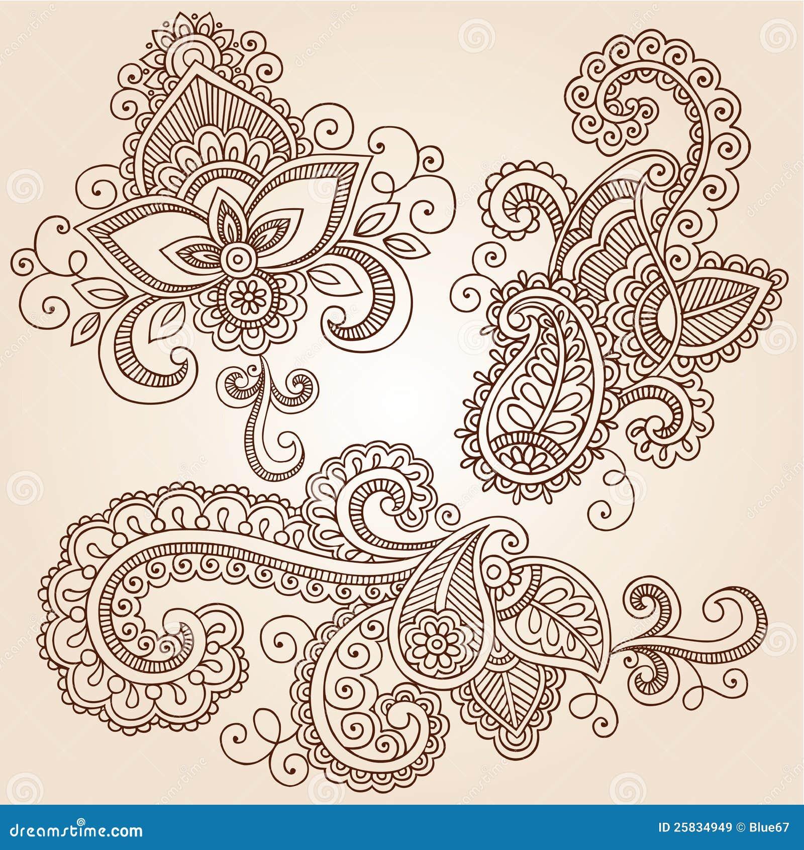 Henna Doodles Mehndi Tattoo Vector Design Elements Stock