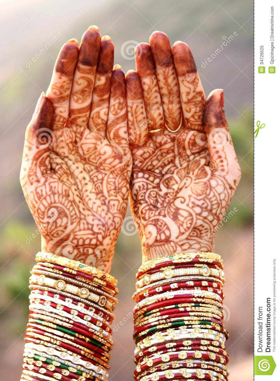 Henna Hands and Bangles stock image. Image of bride, fashion ...