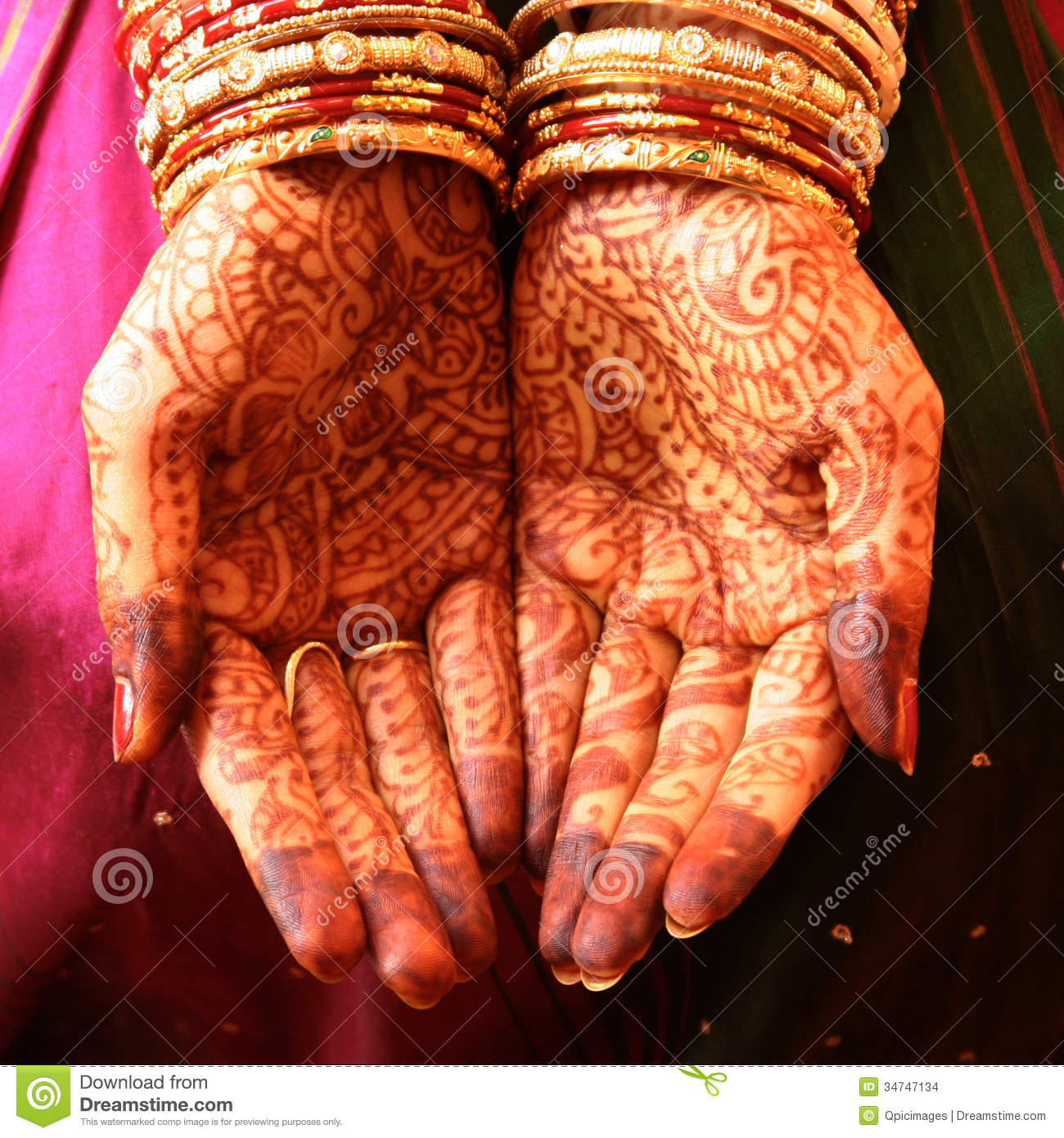Henna Hands and Bangles stock photo. Image of bride, makeup - 34747134