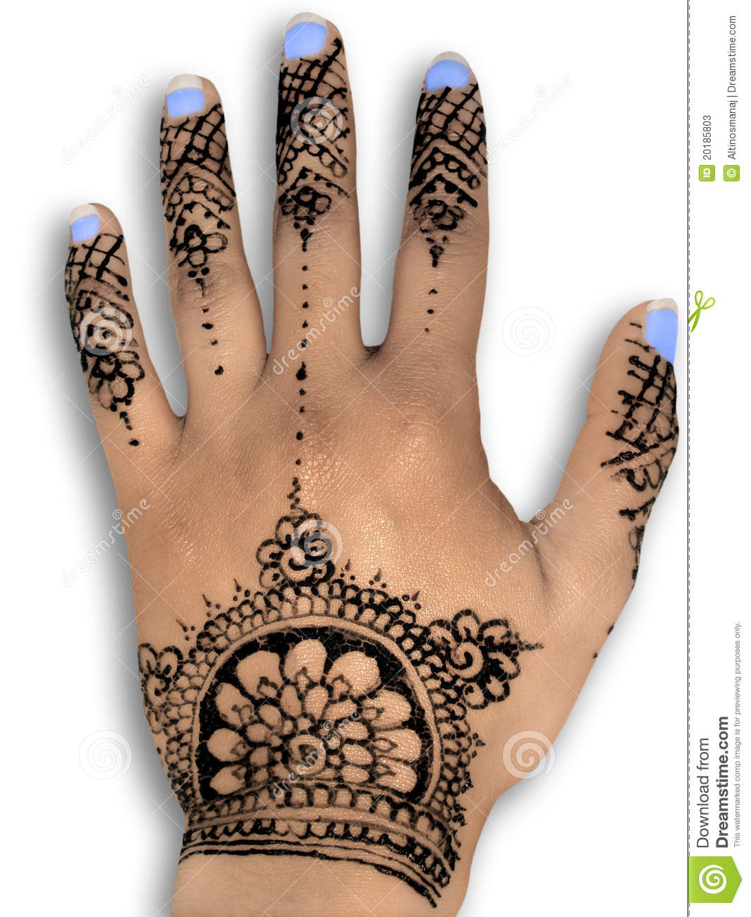 Henna hena mehendi design - isolated blue nails and grey shadow. No ...