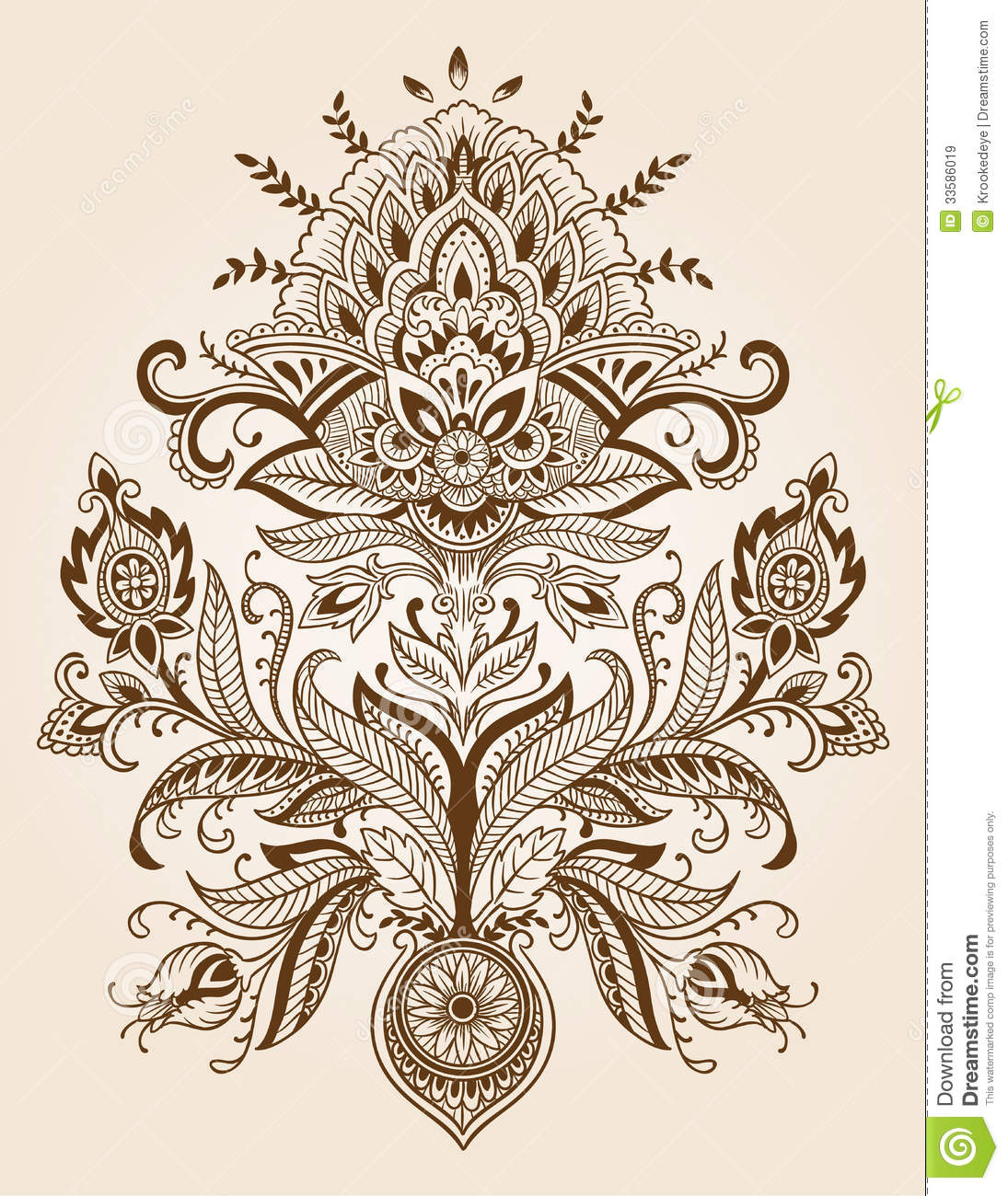 Henna Lace Paisley Flower Vector Stock Vector Illustration Of